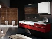 Подвесная красная тумба с раковиной для ванной