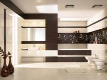 Горизонтальные черные полосы в ванной - раздвигаем пространство