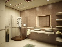 Ванная комната в коричнево-бежевых тонах