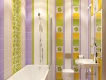 Сиреневая ванная с желтым и зеленым
