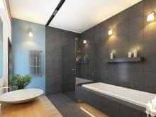 бирюзовый в серой ванной