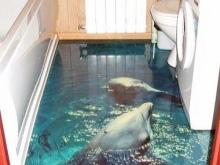 Наливной 3D пол в ванной комнате