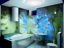 Морские темы на стенах ванной