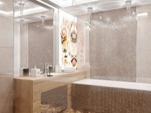 Точечное освещение ванной из зеркальной мозаики с зеркалом