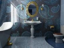 Зеркальная темная мозаика в ванной