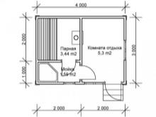 Баня размером 3 на 4: внутренняя планировка и чертежи с размерами