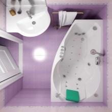 Ванная комната 5 кв м - планировка с угловой ванной