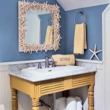Морской стиль ванной в сочетание с деревянной мебелью