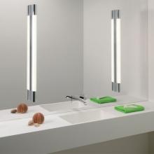 Зеркальная стена в ванной со встроенными светильниками
