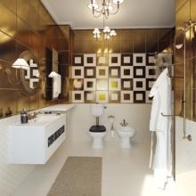 Оформление ванной золотом