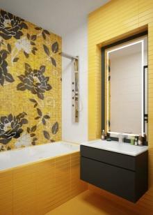 Желтая с черным ванная комната