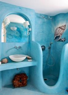 Покраска стен ванной в морском стиле