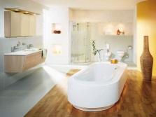Зонирование ванной и душа - напольные покрытия