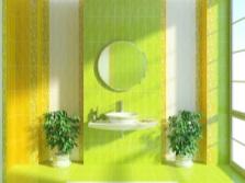 Зеленая с желтым ванная комната