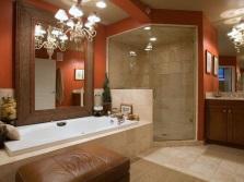 Оранжевая ванная комната в классическом стиле