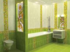 Зеленая с желтым ванная комната цветочный декор
