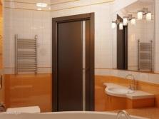 Оранжевая ванная комната с зеркалом