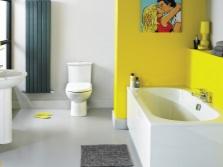 Желтая с синим ванная комната