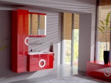 Белая ванна с красной мебелью