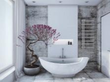 Белая ванная с небольшими цветными акцентами