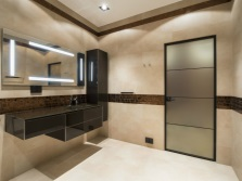 Бежевая в сочетании с коричневым ванная комната
