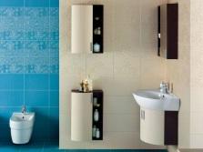 Бежево-голубая ванная