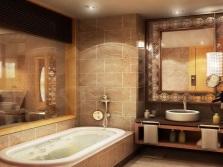 Бежевая с коричневым ванная