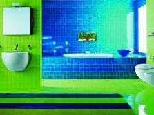 Ванная в морском стиле сине зеленая