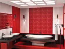 Красная ванная в сочетании с белым и черным