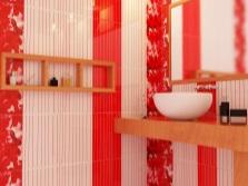 Белая плитка с красными вставками