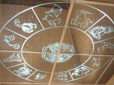 Зеркальный потолок в ванной со знаками зодиака