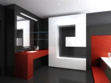 Ванная: черный красный и белый цвета