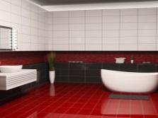 Бело-красно-черная ванная комната
