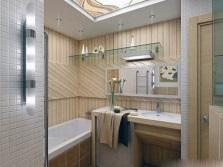 Зеркало и потолок с подсветкой в маленькой ванной