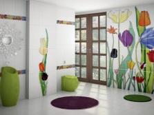 Цветовые акценты в оформлении ванной плиткой