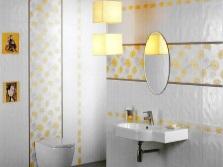 Белая ванная с золотым декором