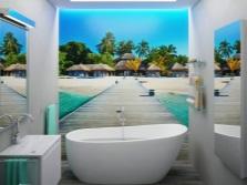 Белая ванная с фотопанно