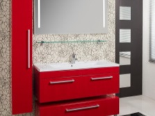 Стильная бело-красная ванная