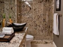 Бежево-черная ванная комната