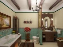 Дизайн ванной в стиле кантри в контрастном сочетании