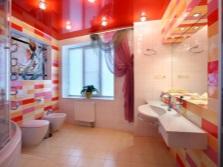 Дизайн красно-белая плитка в ванной с желтыми тонами