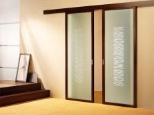 Стеклянная двустворчатая дверь для ванной