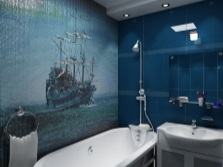 Темно-синяя ванная комната