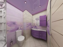 Стильная сиреневая ванная