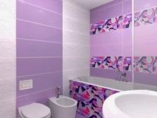 Сиреневый, белый и розовый в ванной комнате