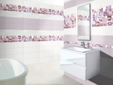 Сиреневые акценты в ванной