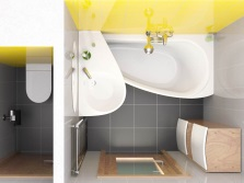 Зонирование стен - разные цвета в ванной