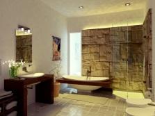 Красивая ванная комната с камнем в стиле модерн