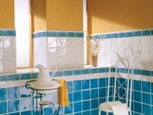 Голубо-оранжевая ванная
