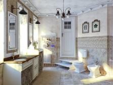 Кованая красивая люстра в ванной в стиле прованс